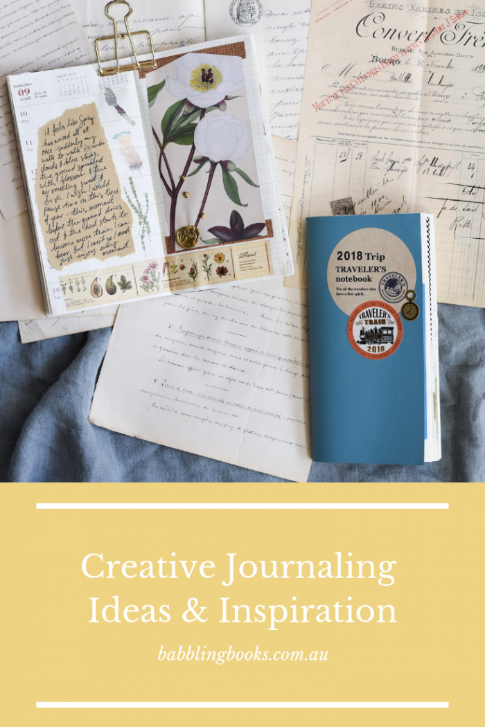 Creative journal ideas and inspiration, featuring a vintage floral spread, antique hand written letters and a 2018 Traveler's notebook