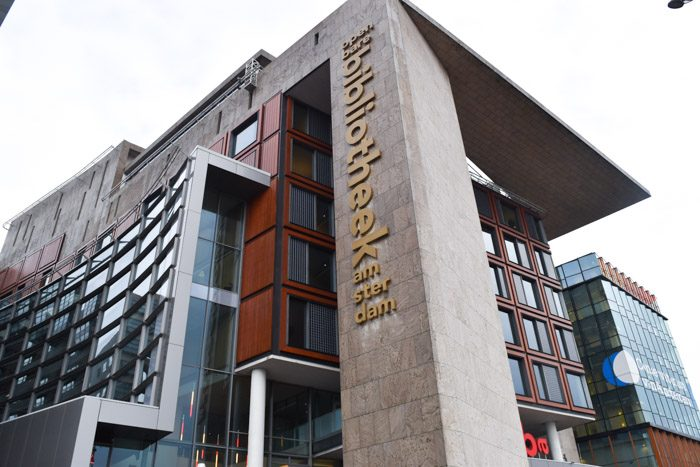 Photo of the front of the Amsterdam city library