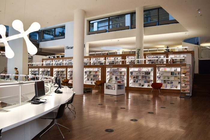 Photo of the interior of the Amsterdam city library