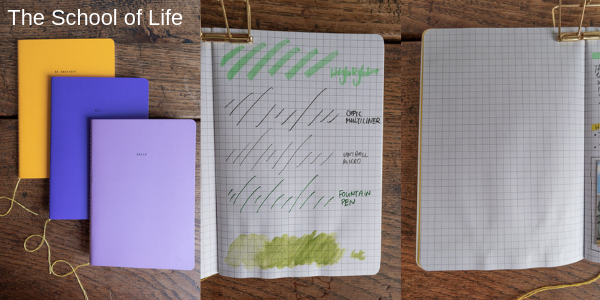 Screenshot from my video of the School of Life notebook with examples of different drawing mediums.