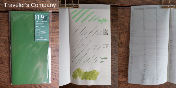 Screenshot from my video of the Traveler's Company notebook with examples of different drawing mediums.