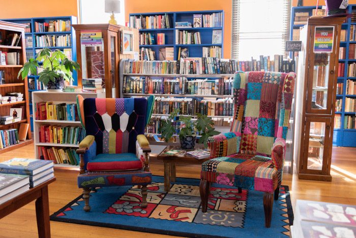 Colourful old chairs in an equally colourful Blarney Books and Art.