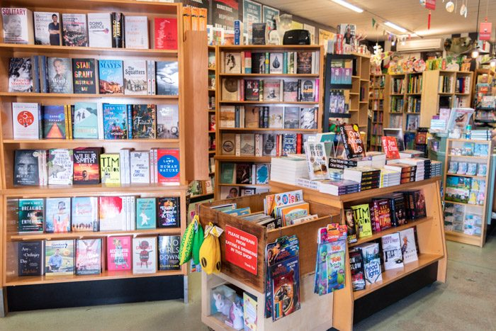 Picture of the inside of Lorne Beach Books, showing several bookshelves filled with a range of books.