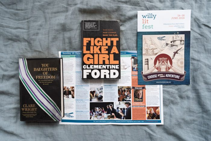 Willy Lit Fest: Top nonfiction picks, featuring You Daughters of Freedom by Claire Wright on the left and Fight Like a Girl by Clementine Ford in the center, and the Willy Lit Fest program guide.