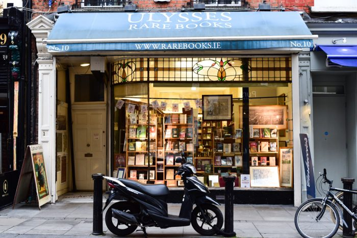A scooter parked out the front of Ulysses Rare Books, a secondhand bookshop in Dublin