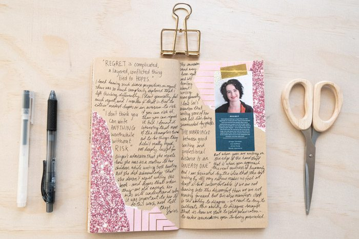 A two page spread of my journal dedicated to the session 'Regret'. This is mostly handwritten text with a few pieces of decorative tape on the sides surrounding my handwritten notes on the session, and a pamphlet cutout describing the session.