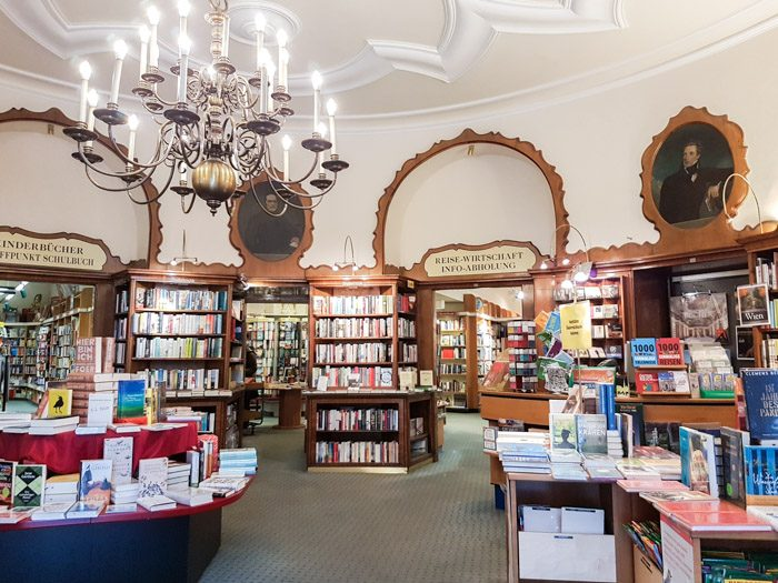 The interior of OBV, with art nouveau ceilings and archways leading into various other rooms with different book genres and themes. Lots of bookshelves and tables covered with books.