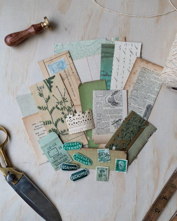 Vert - Green vintage paper pack. An assortment of genuine vintage paper ephemera in shades of green.