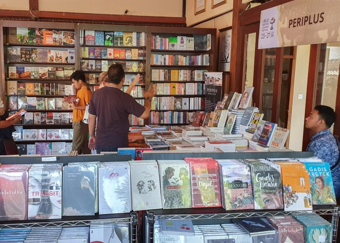 Interior of Periplus pop up bookshop at Ubud Writers and Readers Festival 2019.