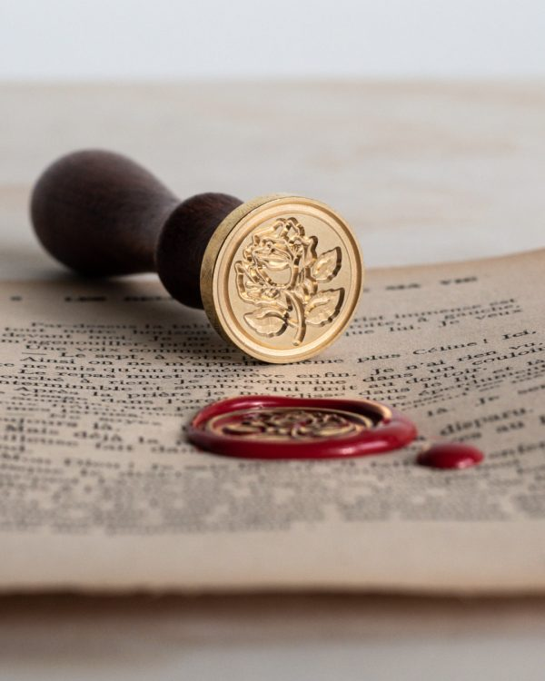 Wax seal stamp with rose design